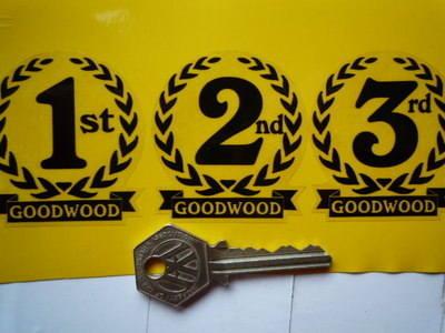 "Goodwood 1st, 2nd & 3rd Podium Garland Stickers. 2""."