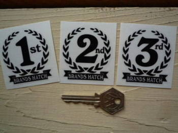 """Brands Hatch 1st, 2nd & 3rd Podium Garland Stickers. 2""""."""