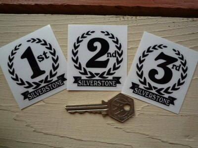 "Silverstone 1st, 2nd & 3rd Podium Garland Stickers. 2""."