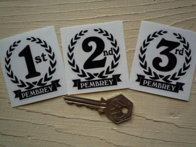 """Pembrey 1st, 2nd & 3rd Podium Garland Stickers. 2""""."""