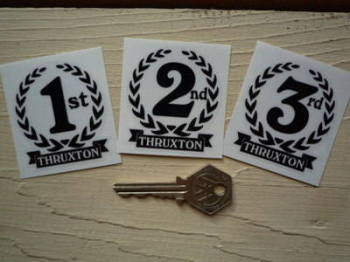 "Thruxton 1st, 2nd & 3rd Podium Garland Stickers. 2""."