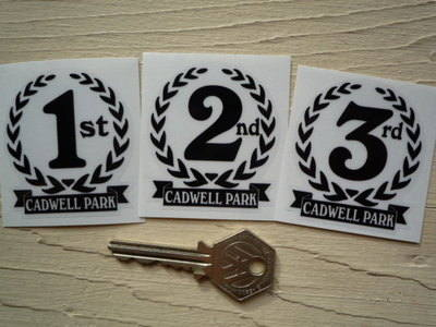 "Cadwell Park 1st, 2nd & 3rd Podium Garland Stickers. 2""."