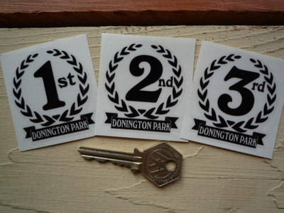 "Donington Park 1st, 2nd & 3rd Podium Garland Stickers. 2""."