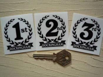 """Rockingham 1st, 2nd & 3rd Podium Garland Stickers. 2""""."""