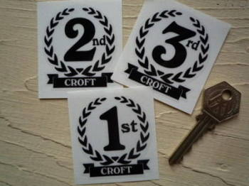"Croft 1st, 2nd & 3rd Podium Garland Stickers. 2""."
