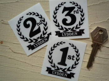 "Lydden 1st, 2nd & 3rd Podium Garland Stickers. 2""."