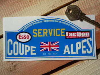 "Coupe Des Alpes. Esso. L'action. Service Rally Plate Sticker. 6""."