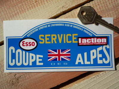 Coupe Des Alpes. Esso. L'action. Service Rally Plate Sticker. 6