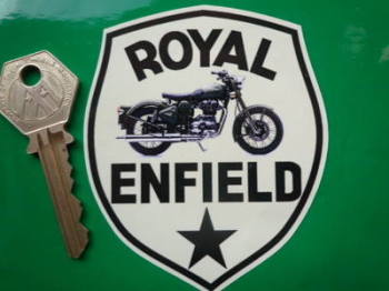 "Royal Enfield Bike & Star Shield Sticker. 3""."
