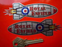 """Royal Enfield Handed Rocket Stickers. 4.5"""" Pair."""