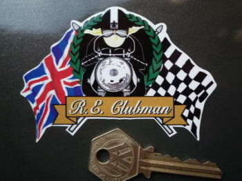 "Royal Enfield Clubman Flag & Scroll Sticker. 4""."