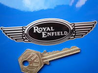 "Royal Enfield Winged Helmet Sticker. 4""."