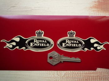 "Royal Enfield Flame Stickers. 4"" Pair."