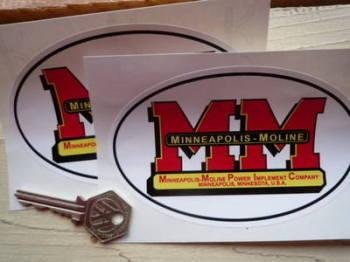 "Minneapolis Moline MM Oval Stickers. 5"" Pair."