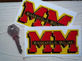 "Minneapolis Moline MM Shaped Stickers. 4"" Pair."