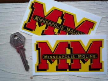 "Minneapolis Moline MM Shaped Stickers. 4"" Pair."