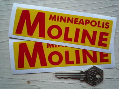 """Minneapolis Moline Red & Yellow Oblong Stickers. 5"""" Pair."""