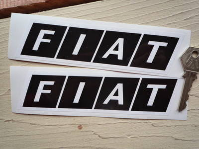 "Fiat Tractor Slanted Oblong Stickers. 6"" Pair."