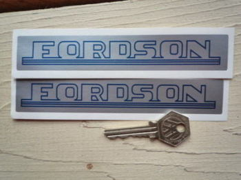"Fordson Blue & Silver Oblong Stickers. 6"" Pair."