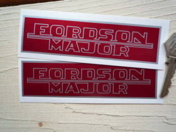"Fordson Major Red & Silver Oblong Stickers. 5"" Pair."