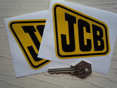 "JCB Yellow & Black Shaped Stickers. 4"" Pair."