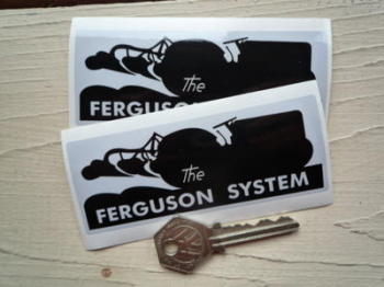 "Ferguson System Tractor Grey & Black Stickers. 4"" Pair."