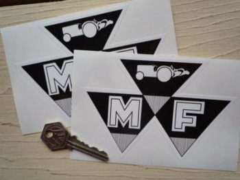 "Massey Ferguson MF Shaped Stickers. 5"" Pair."