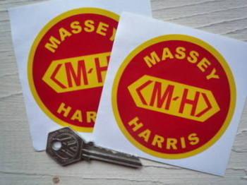 "Massey Harris Circular Stickers. 3"" Pair."