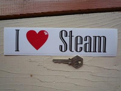 """I Love Steam Bumper Sticker. 9""""."""