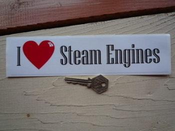 """I Love Steam Engines Bumper Sticker. 9""""."""