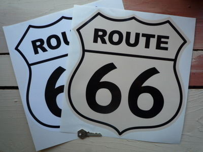 "Route 66 Shield Sticker. 12""."