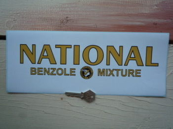 "National Benzole Mixture Gold Text Oblong Sticker. 13""."