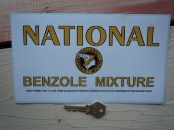 "National Benzole Mixture Tank & Pump Check Sticker. 8.75""."