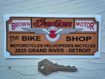 "Indian Bike Shop Detroit Sticker. 6""."