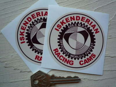 "Iskenderian Racing Cams, Brown, Red & Cream Round Stickers. 3"" Pair."
