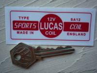Lucas Sports Coil Sticker. Red & Clear. SA12. 12V. U.