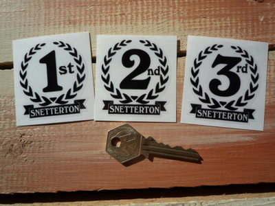 "Snetterton 1st, 2nd & 3rd Podium Garland Stickers. 2""."