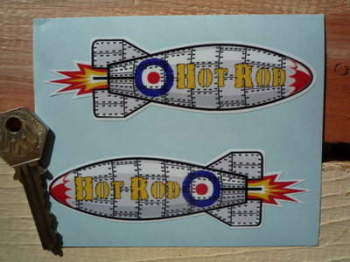 "Hot Rod Shaped Rocket Yellow Text Stickers. 4.5"" Pair."