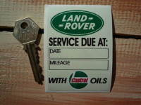 "Land Rover Service With Castrol Oils Sticker. 3.25""."