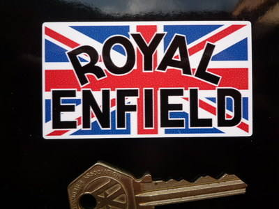 Royal Enfield Text on Union Jack Stickers. 3