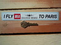 """BEA I Fly Silver Wing To Paris Sticker. 8""""."""