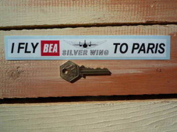 "BEA I Fly Silver Wing To Paris Sticker. 8""."