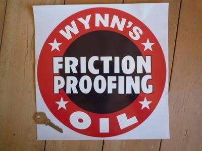 "Wynn's Friction Proofing Oil Circular Sticker. 7""."
