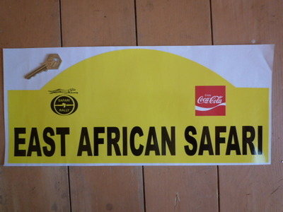 """East African Safari Shaped Rally Plate Sticker. 16""""."""