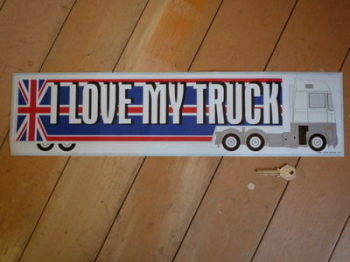 "I Love My Truck UK Union Jack Truckers Sticker. 22""."
