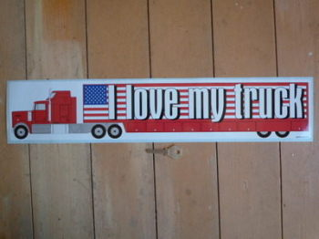 "I Love My Truck USA Stars & Stripes Truckers Sticker. 22""."