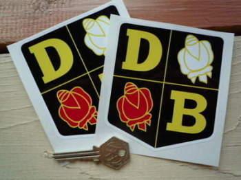 "David Brown DB & Roses Shield Stickers. 4"" Pair."