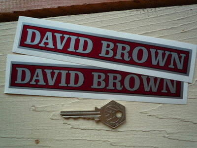"David Brown Red & Silver Oblong Stickers. 6.5"" Pair."