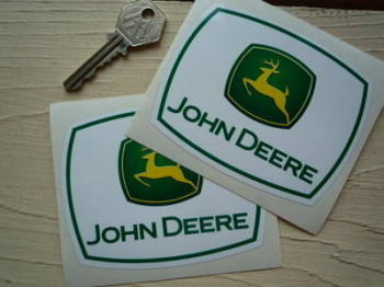 "John Deere Leaping Deer & Text Stickers. 4"" Pair."