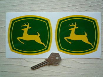 "John Deere Leaping Deer Stickers. 4"" Pair."